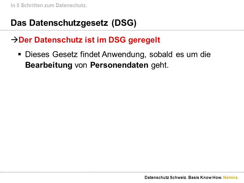 Namics. Das Datenschutzgesetz (DSG) Der Datenschutz ist im DSG geregelt Dieses Gesetz findet Anwendung, sobald es um die Bearbeitung von Personendaten
