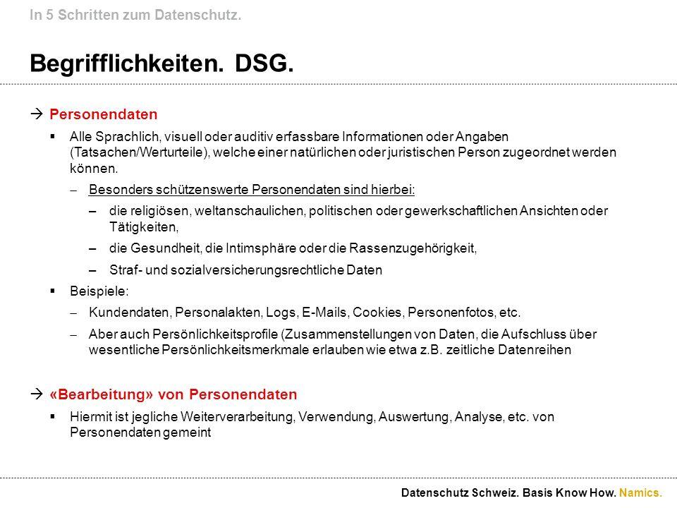 Namics. Begrifflichkeiten. DSG. Personendaten Alle Sprachlich, visuell oder auditiv erfassbare Informationen oder Angaben (Tatsachen/Werturteile), wel