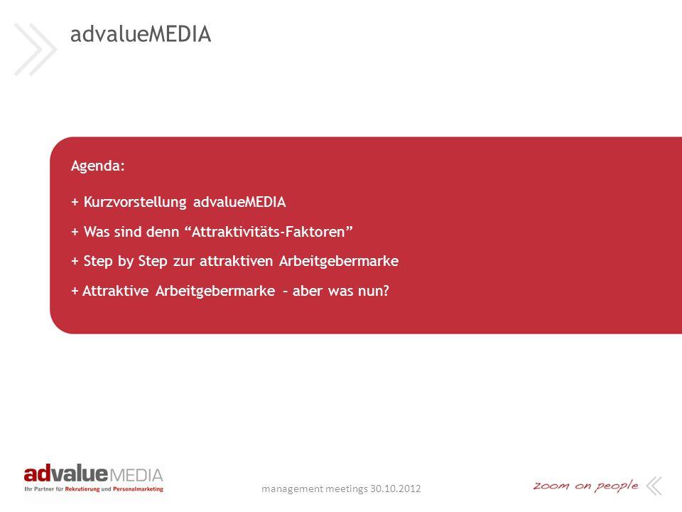 advalueMEDIA Agenda: + Kurzvorstellung advalueMEDIA + Was sind denn Attraktivitäts-Faktoren + Step by Step zur attraktiven Arbeitgebermarke + Attraktive Arbeitgebermarke – aber was nun.