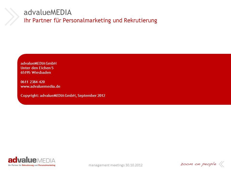 …wir hoffen, dass Sie dieser Arbeitgeber sind ! management meetings 30.10.2012