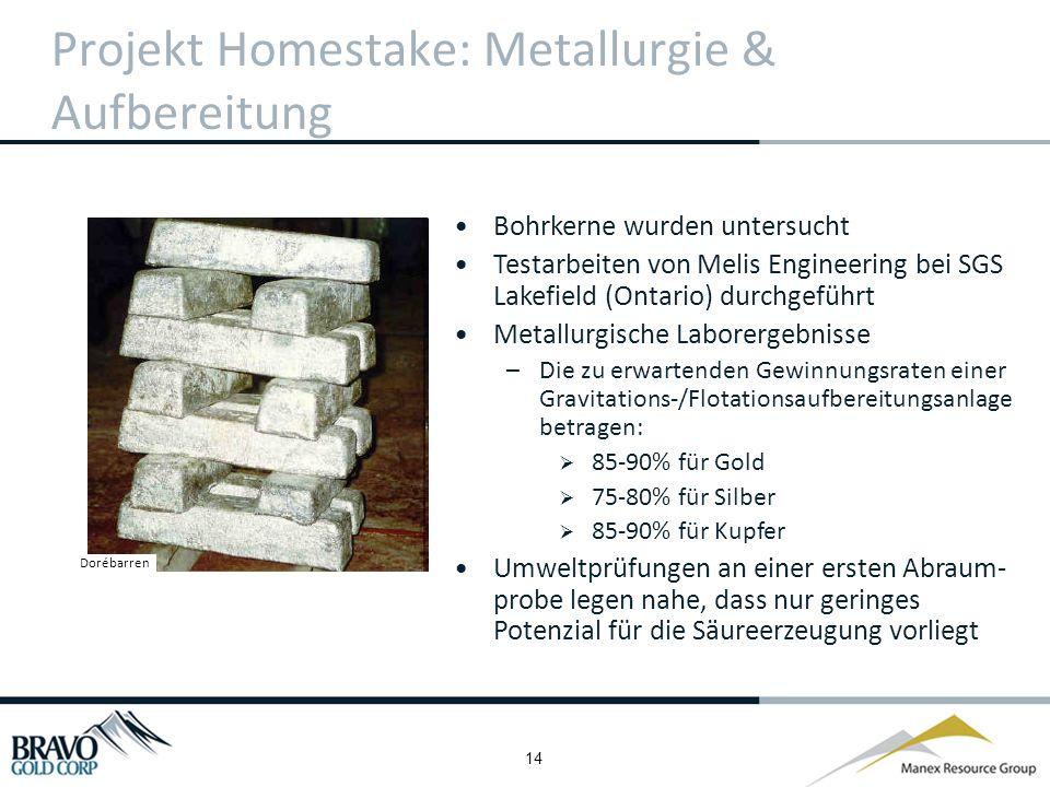 14 Projekt Homestake: Metallurgie & Aufbereitung Bohrkerne wurden untersucht Testarbeiten von Melis Engineering bei SGS Lakefield (Ontario) durchgeführt Metallurgische Laborergebnisse –Die zu erwartenden Gewinnungsraten einer Gravitations-/Flotationsaufbereitungsanlage betragen: 85-90% für Gold 75-80% für Silber 85-90% für Kupfer Umweltprüfungen an einer ersten Abraum- probe legen nahe, dass nur geringes Potenzial für die Säureerzeugung vorliegt Dorébarren
