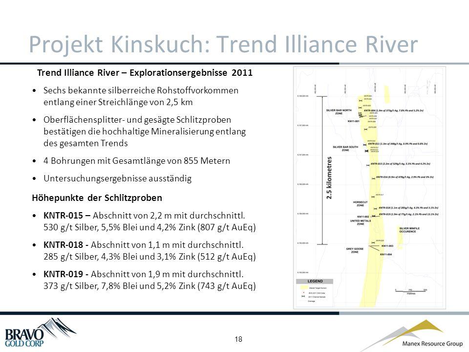 18 Projekt Kinskuch: Trend Illiance River Trend Illiance River – Explorationsergebnisse 2011 Sechs bekannte silberreiche Rohstoffvorkommen entlang einer Streichlänge von 2,5 km Oberflächensplitter- und gesägte Schlitzproben bestätigen die hochhaltige Mineralisierung entlang des gesamten Trends 4 Bohrungen mit Gesamtlänge von 855 Metern Untersuchungsergebnisse ausständig Höhepunkte der Schlitzproben KNTR-015 – Abschnitt von 2,2 m mit durchschnittl.