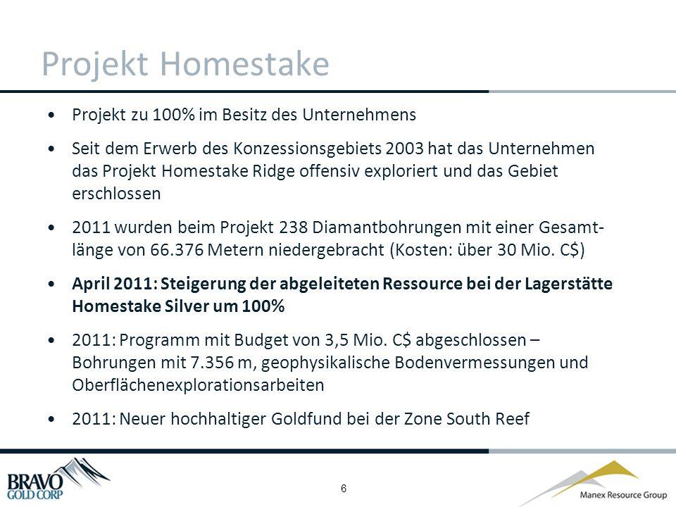 7 Projekt Homestake: Überblick Streichlänge von über 1.850 m, die sich von Main Homestake zu Homestake Silver erstreckt Zahlreiche hochhaltige Rohstoffvorkommen beim gesamten Konzessionsgebiet Von Bohrungen abgegrenzte Ressourcen - Lagerstätte Main Homestake: 123 Bohrungen 28.836 Meter Lagerstätte Homestake Silver: 49 Bohrungen 19.692 Meter 2011: 10 neue Bohrungen niedergebracht, aktualisierte Ressourcenschätzung für 1./2.