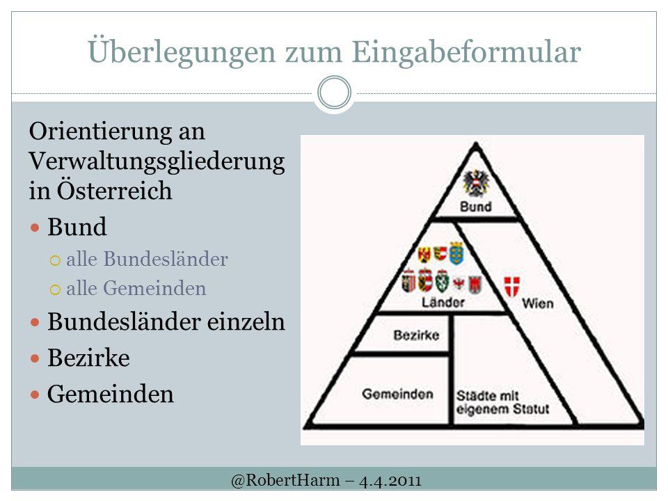 Überlegungen zum Eingabeformular Orientierung an Verwaltungsgliederung in Österreich Bund alle Bundesländer alle Gemeinden Bundesländer einzeln Bezirk