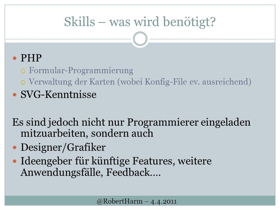 Skills – was wird benötigt? PHP Formular-Programmierung Verwaltung der Karten (wobei Konfig-File ev. ausreichend) SVG-Kenntnisse Es sind jedoch nicht