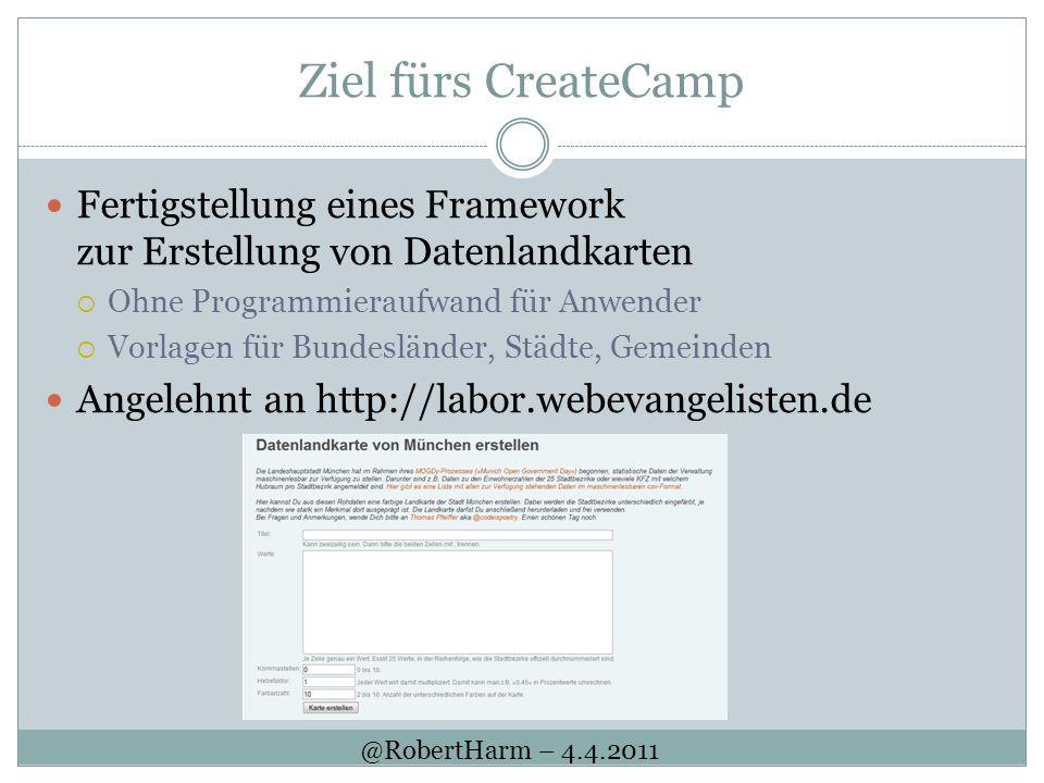 Ziel fürs CreateCamp Fertigstellung eines Framework zur Erstellung von Datenlandkarten Ohne Programmieraufwand für Anwender Vorlagen für Bundesländer,
