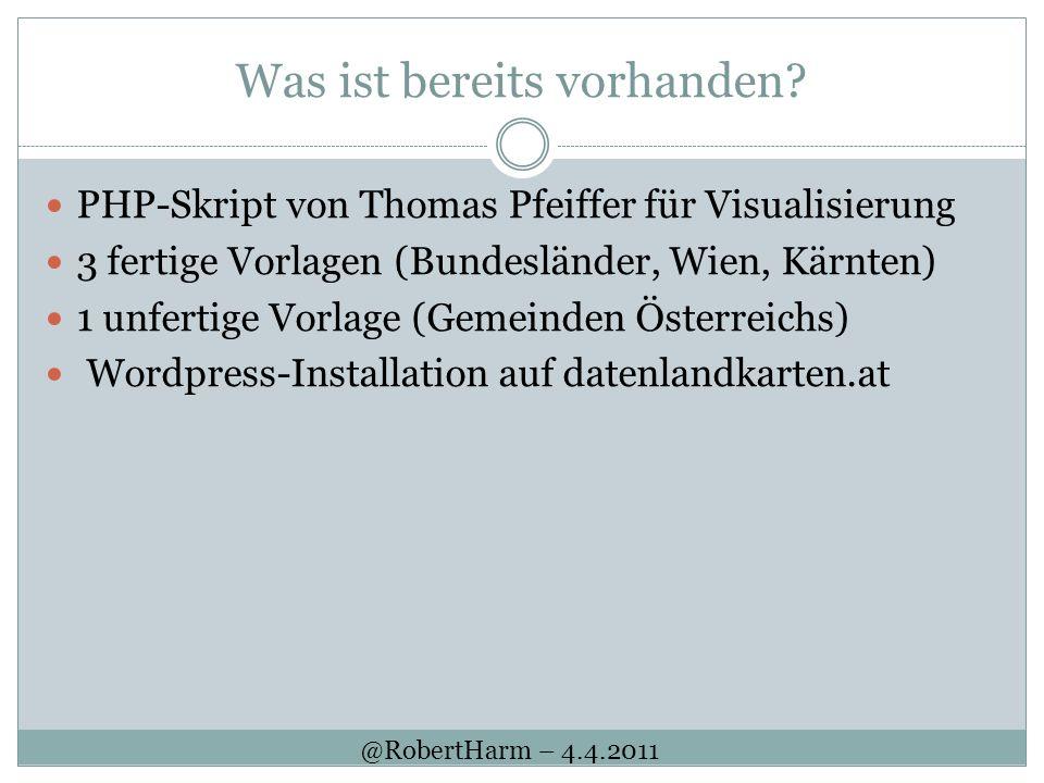 Was ist bereits vorhanden? PHP-Skript von Thomas Pfeiffer für Visualisierung 3 fertige Vorlagen (Bundesländer, Wien, Kärnten) 1 unfertige Vorlage (Gem