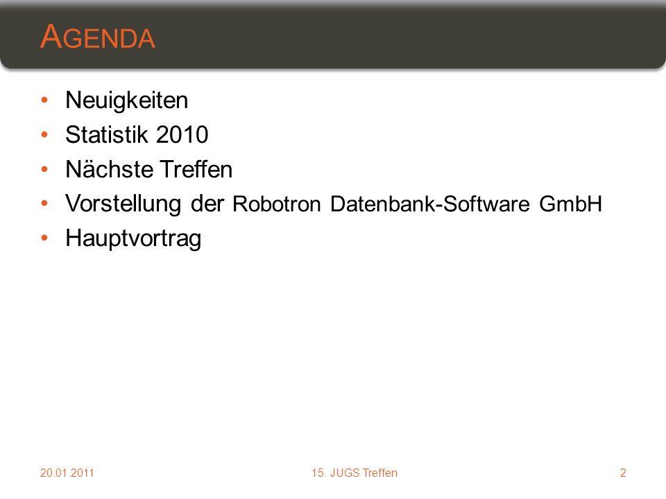 Neuigkeiten Statistik 2010 Nächste Treffen Vorstellung der Robotron Datenbank-Software GmbH Hauptvortrag A GENDA 215.