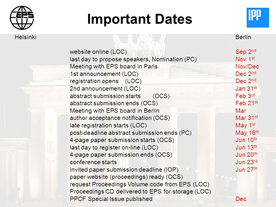 Important Dates HelsinkiBerlin website online (LOC)Sep 2 nd last day to propose speakers, Nomination (PC)Nov 1 st Meeting with EPS board in ParisNov/D