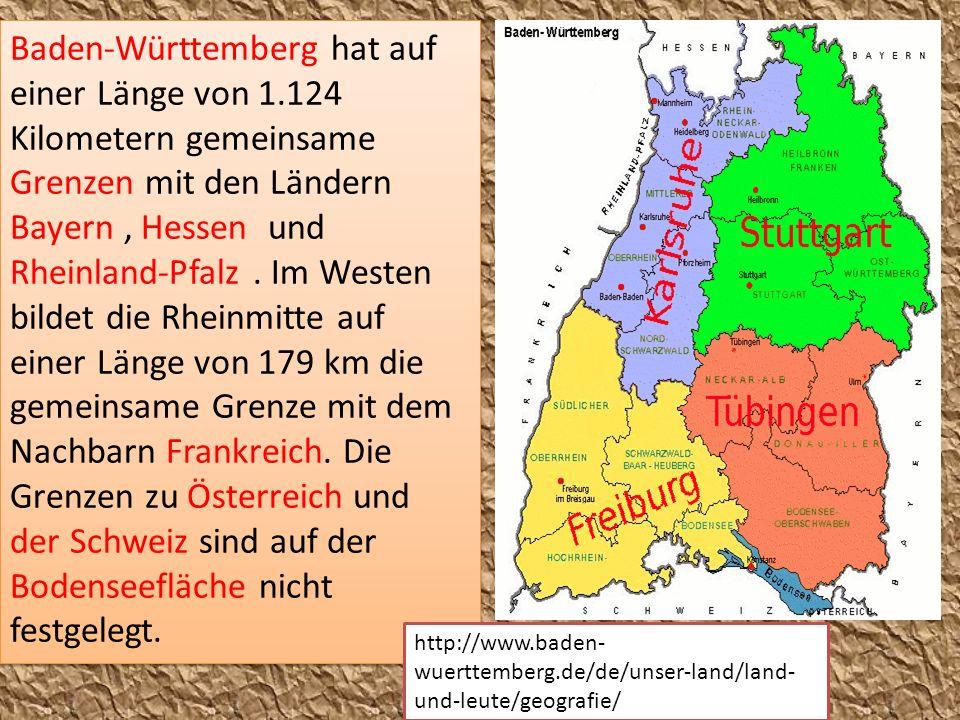 Baden-Württemberg hat auf einer Länge von 1.124 Kilometern gemeinsame Grenzen mit den Ländern Bayern, Hessen und Rheinland-Pfalz. Im Westen bildet die