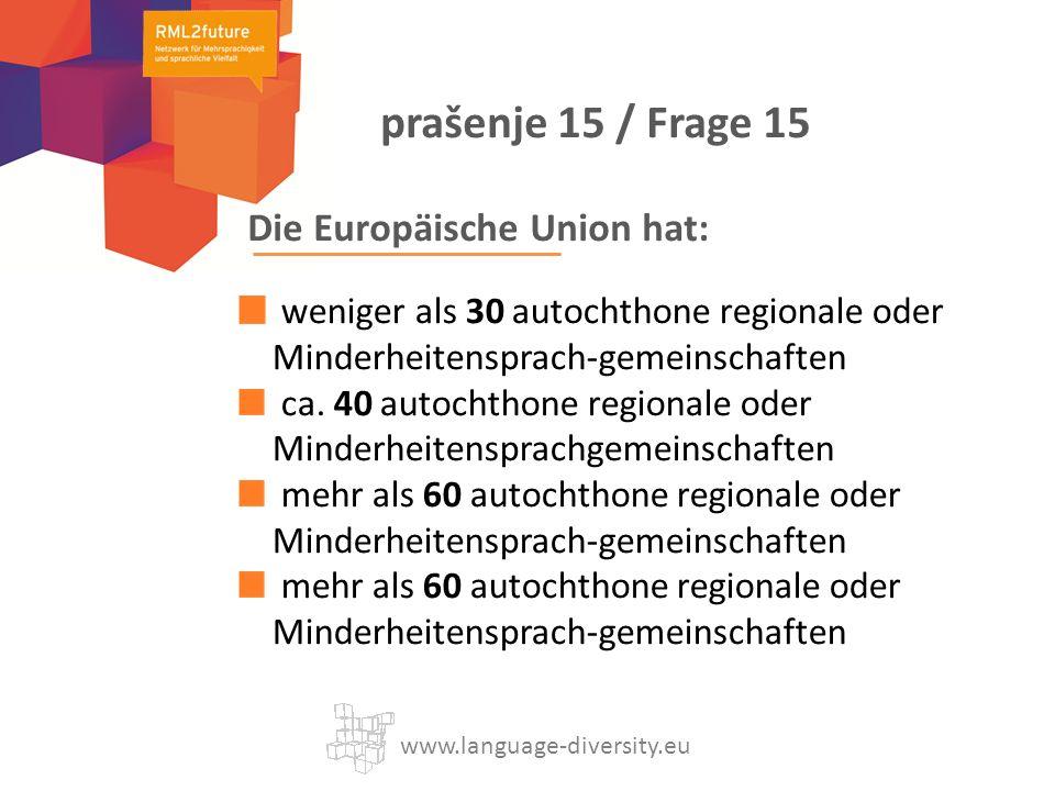 Die Europäische Union hat: weniger als 30 autochthone regionale oder Minderheitensprach-gemeinschaften ca.