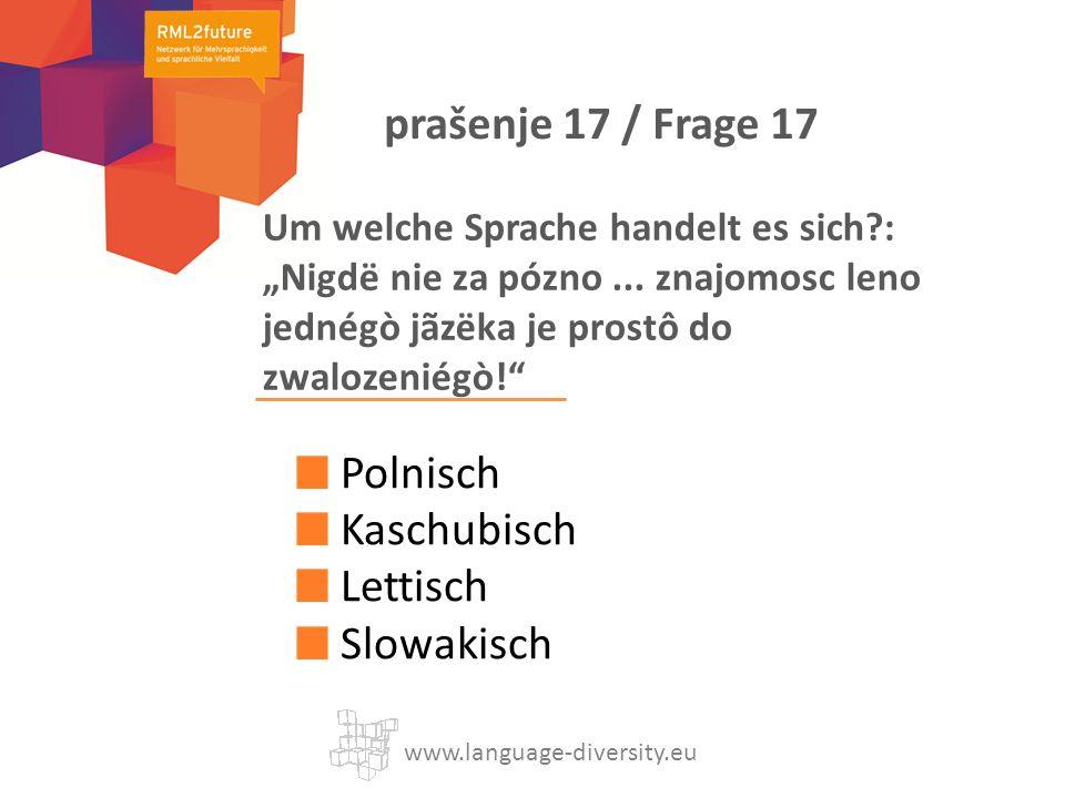 Um welche Sprache handelt es sich?: Nigdë nie za pózno... znajomosc leno jednégò jãzëka je prostô do zwalozeniégò! Polnisch Kaschubisch Lettisch Slowa