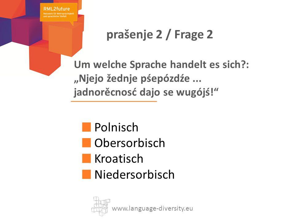 Um welche Sprache handelt es sich?: Njejo žednje pśepózdźe... jadnorěcnosć dajo se wugójś! Polnisch Obersorbisch Kroatisch Niedersorbisch www.language