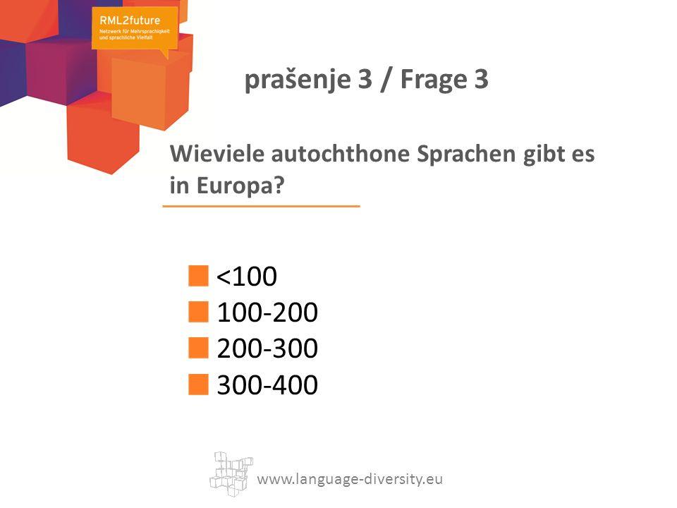 Wieviele autochthone Sprachen gibt es in Europa? <100 100-200 200-300 300-400 www.language-diversity.eu prašenje 3 / Frage 3