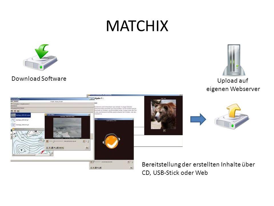MATCHIX Download Software Upload auf eigenen Webserver Bereitstellung der erstellten Inhalte über CD, USB-Stick oder Web