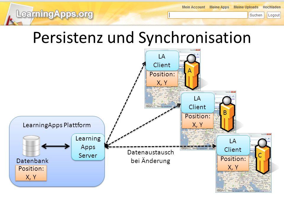 LearningApps Plattform Datenbank Learning Apps Server Position: X, Y LA Client Position: X, Y LA Client Position: X, Y LA Client Datenaustausch bei Än