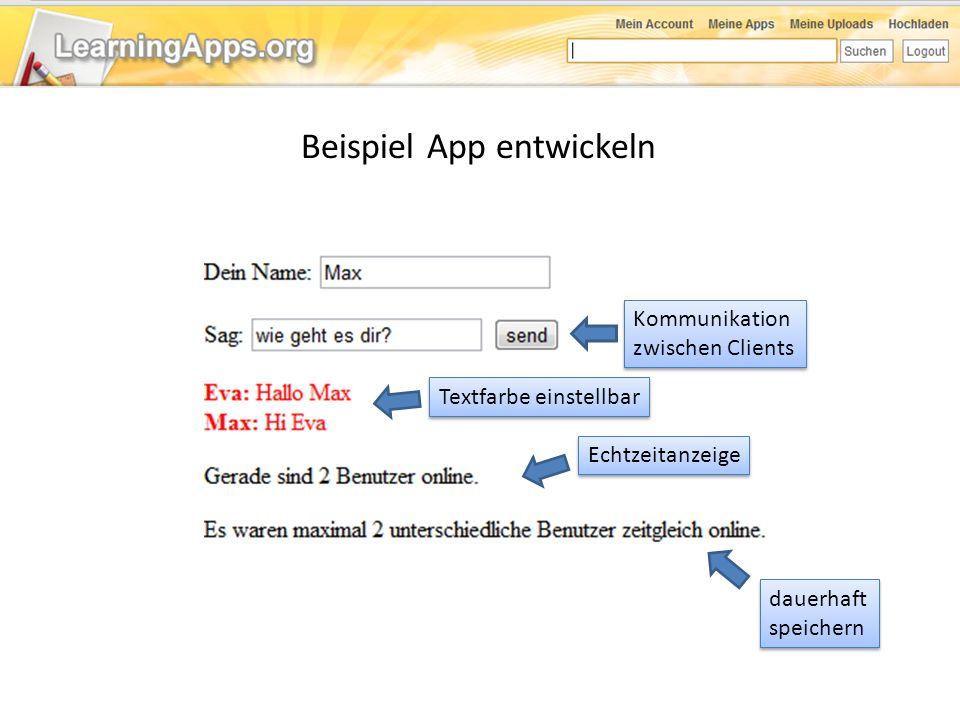 Beispiel App entwickeln dauerhaft speichern dauerhaft speichern Echtzeitanzeige Kommunikation zwischen Clients Kommunikation zwischen Clients Textfarb