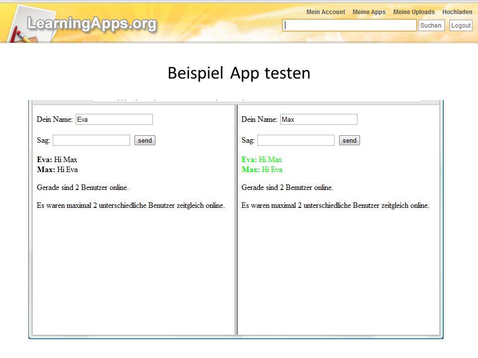 Beispiel App testen