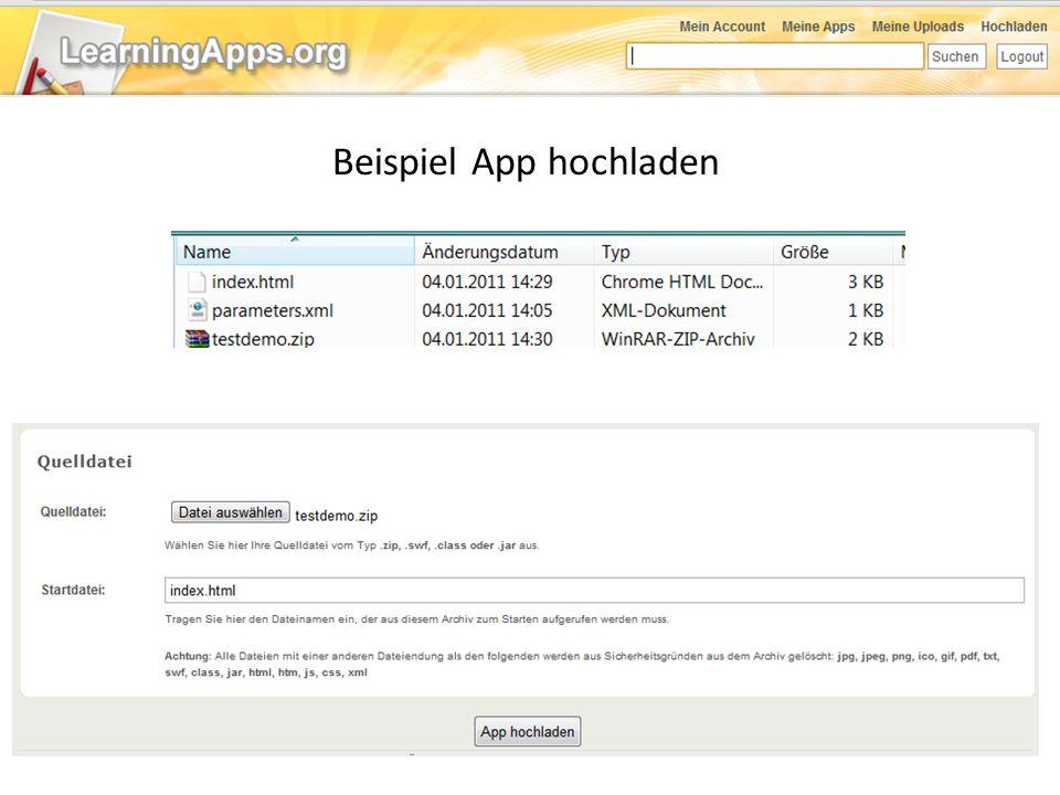 Beispiel App hochladen