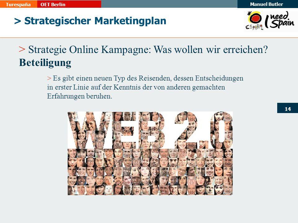 TurespañaOET Berlín Manuel Butler 14 > Strategischer Marketingplan > Strategie Online Kampagne: Was wollen wir erreichen.