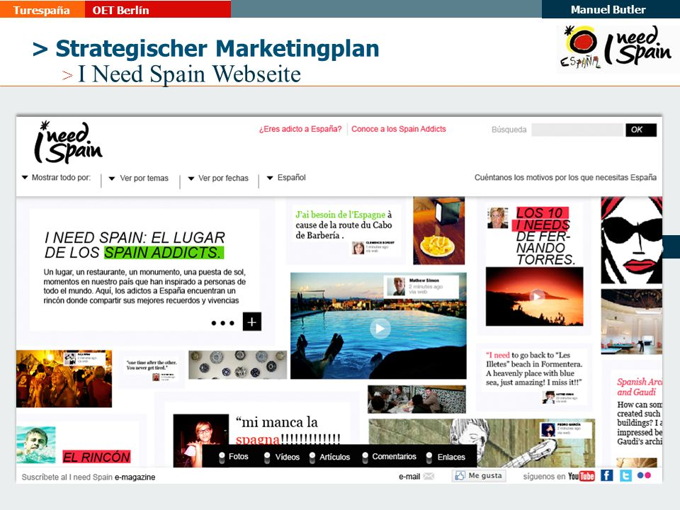 TurespañaOET Berlín Manuel Butler 19 > Strategischer Marketingplan > I Need Spain Webseite