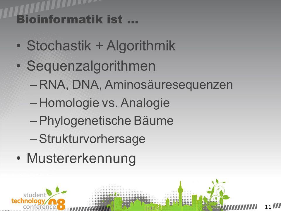 11 Bioinformatik ist … Stochastik + Algorithmik Sequenzalgorithmen –RNA, DNA, Aminosäuresequenzen –Homologie vs. Analogie –Phylogenetische Bäume –Stru