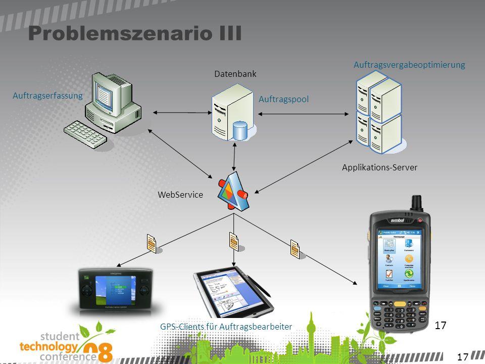 17 Problemszenario III 17 Datenbank WebService GPS-Clients für Auftragsbearbeiter Applikations-Server Auftragspool Auftragserfassung Auftragsvergabeop