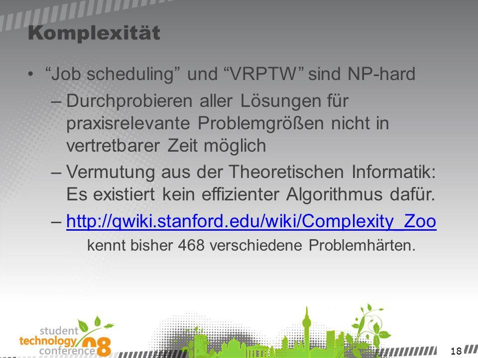 18 Komplexität Job scheduling und VRPTW sind NP-hard –Durchprobieren aller Lösungen für praxisrelevante Problemgrößen nicht in vertretbarer Zeit mögli