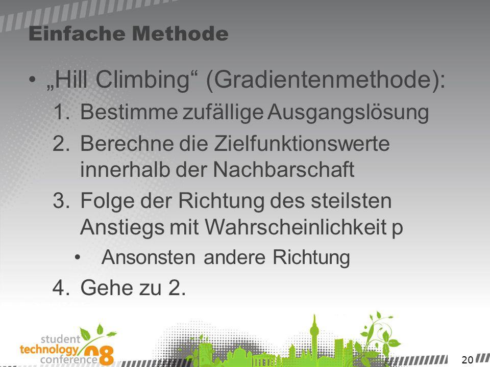 20 Einfache Methode Hill Climbing (Gradientenmethode): 1.Bestimme zufällige Ausgangslösung 2.Berechne die Zielfunktionswerte innerhalb der Nachbarscha