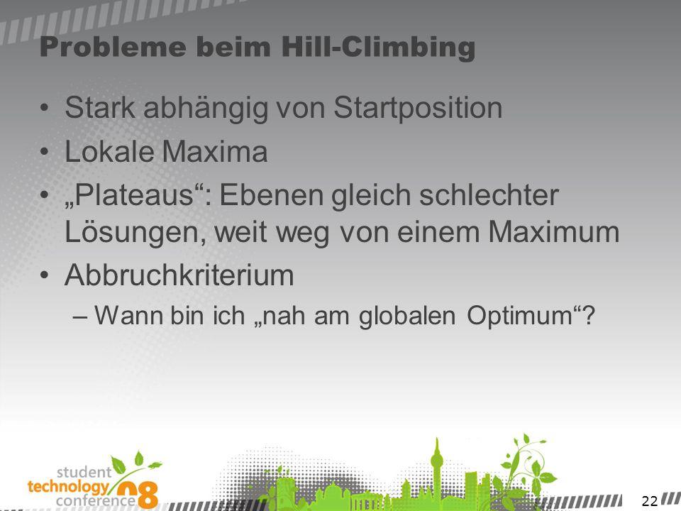 22 Probleme beim Hill-Climbing Stark abhängig von Startposition Lokale Maxima Plateaus: Ebenen gleich schlechter Lösungen, weit weg von einem Maximum