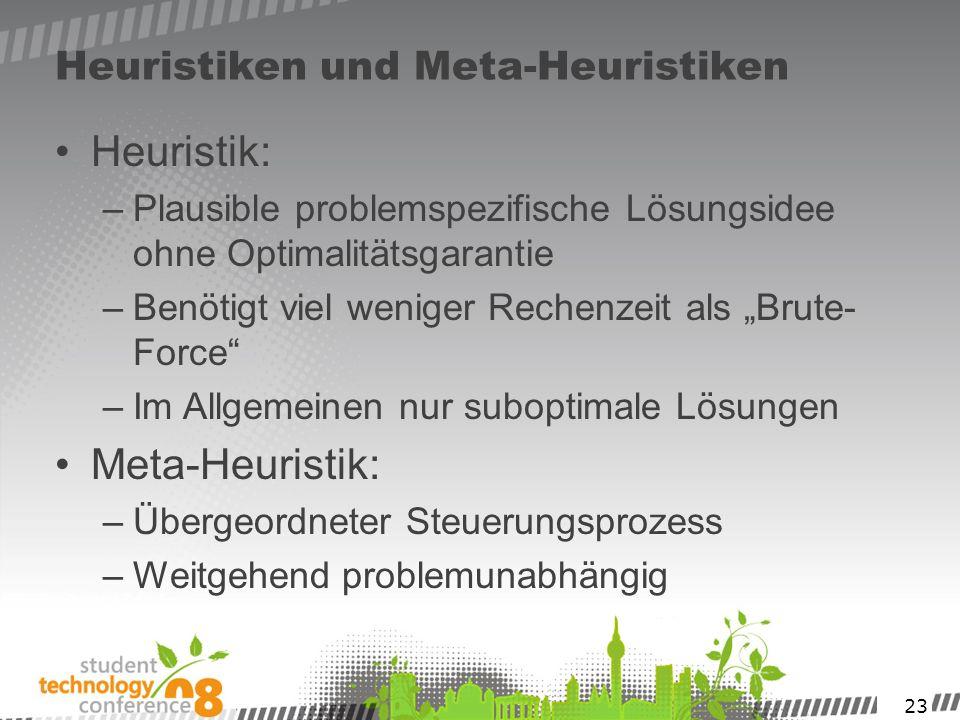 23 Heuristiken und Meta-Heuristiken Heuristik: –Plausible problemspezifische Lösungsidee ohne Optimalitätsgarantie –Benötigt viel weniger Rechenzeit a