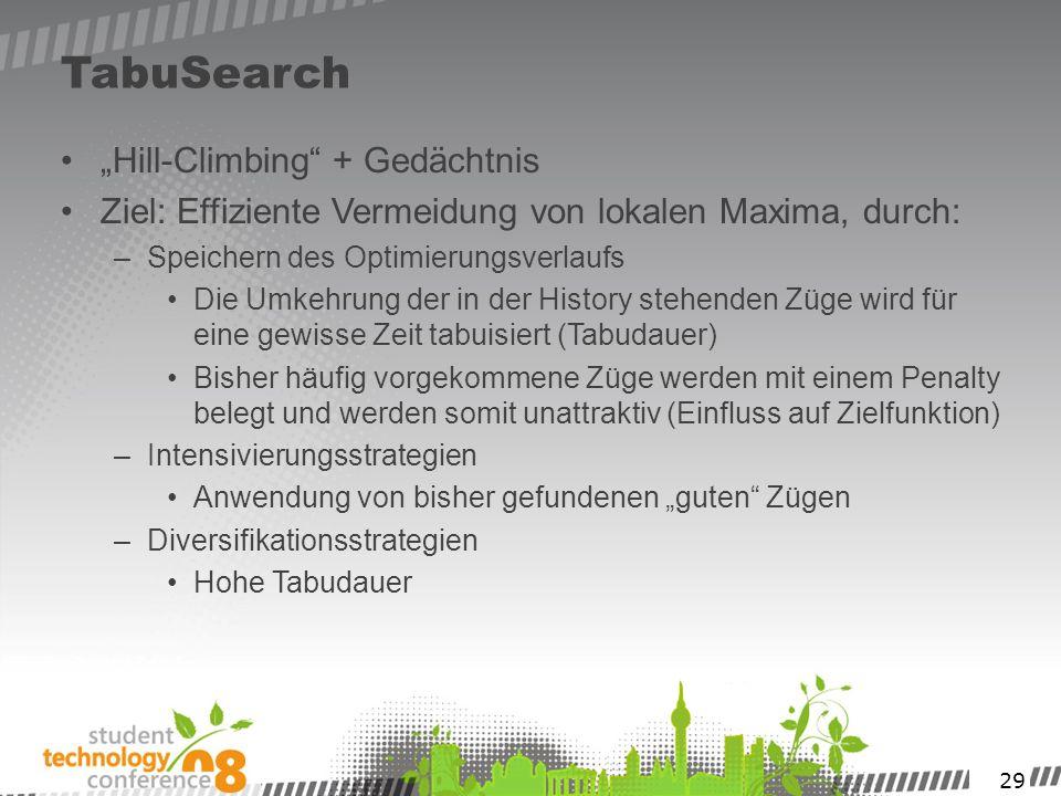 29 TabuSearch Hill-Climbing + Gedächtnis Ziel: Effiziente Vermeidung von lokalen Maxima, durch: –Speichern des Optimierungsverlaufs Die Umkehrung der