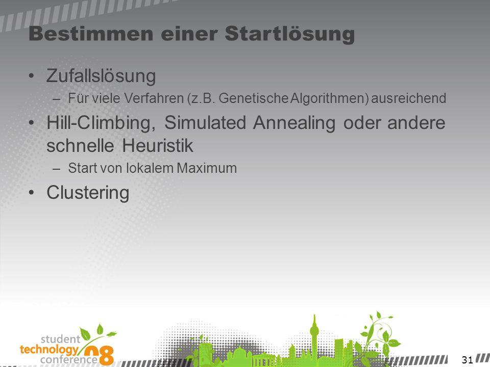 31 Bestimmen einer Startlösung Zufallslösung –Für viele Verfahren (z.B. Genetische Algorithmen) ausreichend Hill-Climbing, Simulated Annealing oder an