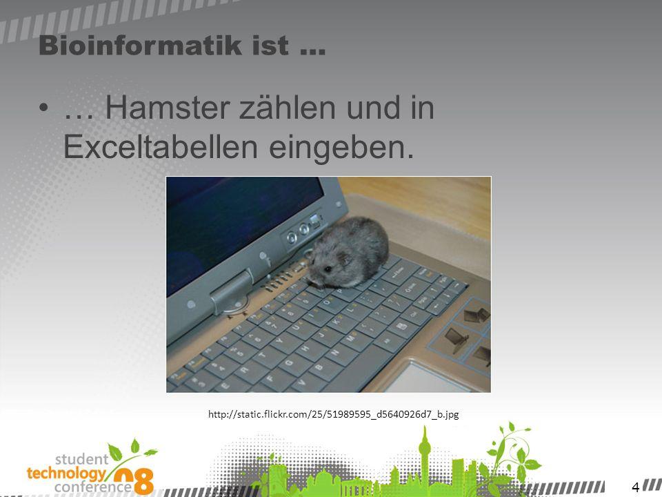 4 Bioinformatik ist … … Hamster zählen und in Exceltabellen eingeben. http://static.flickr.com/25/51989595_d5640926d7_b.jpg