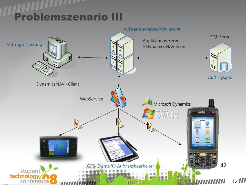 42 Problemszenario III 42 SQL-Server Dynamics NAV - Client WebService GPS-Clients für Auftragsbearbeiter Applikations-Server = Dynamics NAV Server Auf