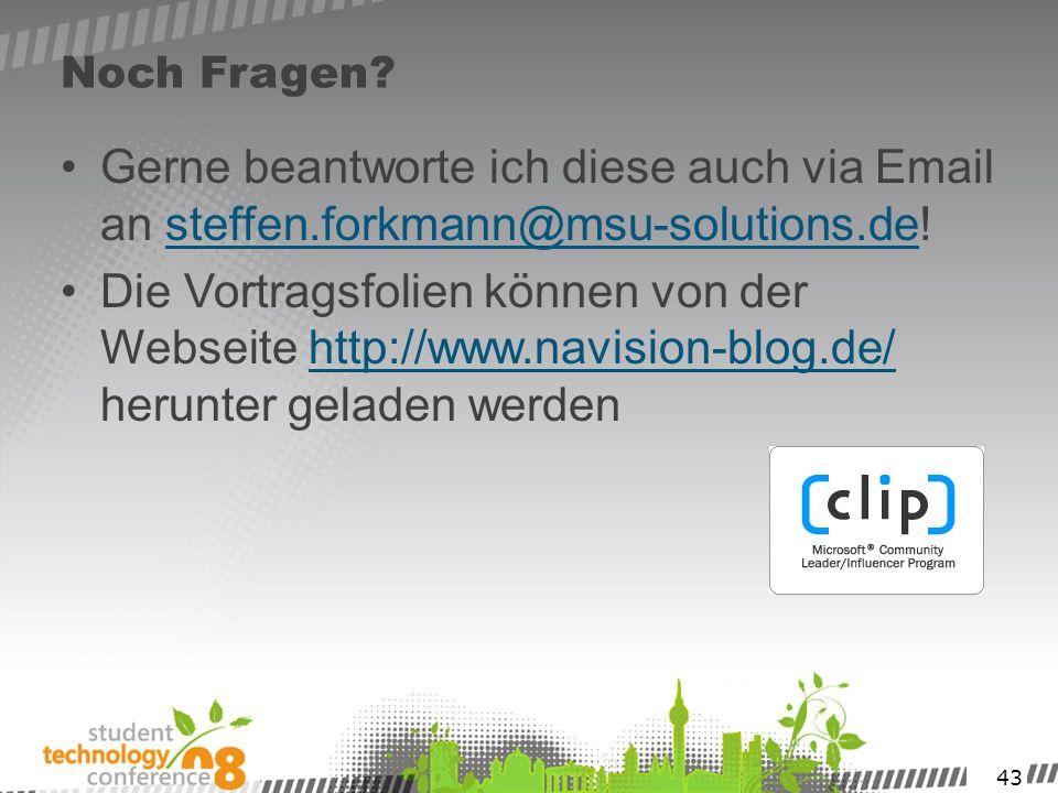43 Noch Fragen? Gerne beantworte ich diese auch via Email an steffen.forkmann@msu-solutions.de! Die Vortragsfolien können von der Webseite http://www.