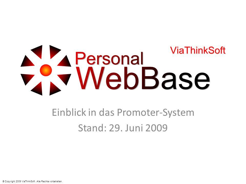 Einblick in das Promoter-System Stand: 29. Juni 2009 © Copyright 2009 ViaThinkSoft. Alle Rechte vorbehalten.