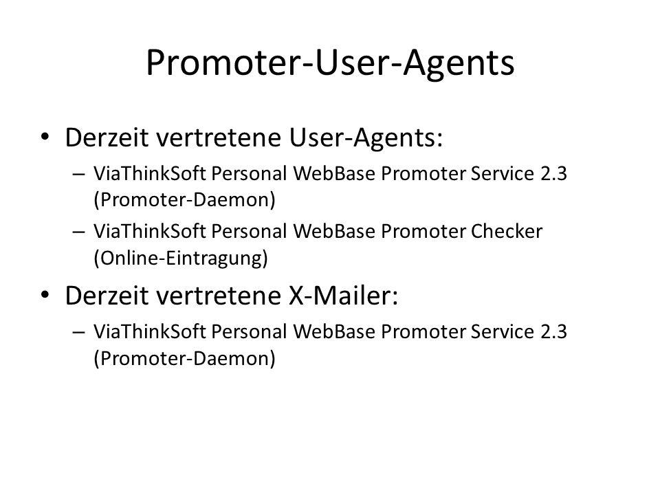 Promoter-User-Agents Derzeit vertretene User-Agents: – ViaThinkSoft Personal WebBase Promoter Service 2.3 (Promoter-Daemon) – ViaThinkSoft Personal We