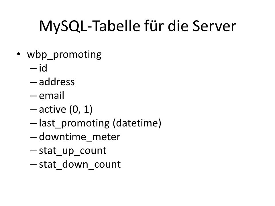 MySQL-Tabelle für die Server wbp_promoting – id – address –  – active (0, 1) – last_promoting (datetime) – downtime_meter – stat_up_count – stat_down_count