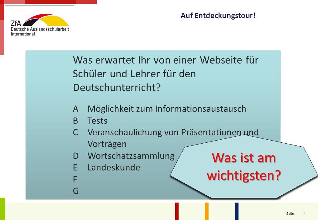 4 Seite: Was erwartet Ihr von einer Webseite für Schüler und Lehrer für den Deutschunterricht.