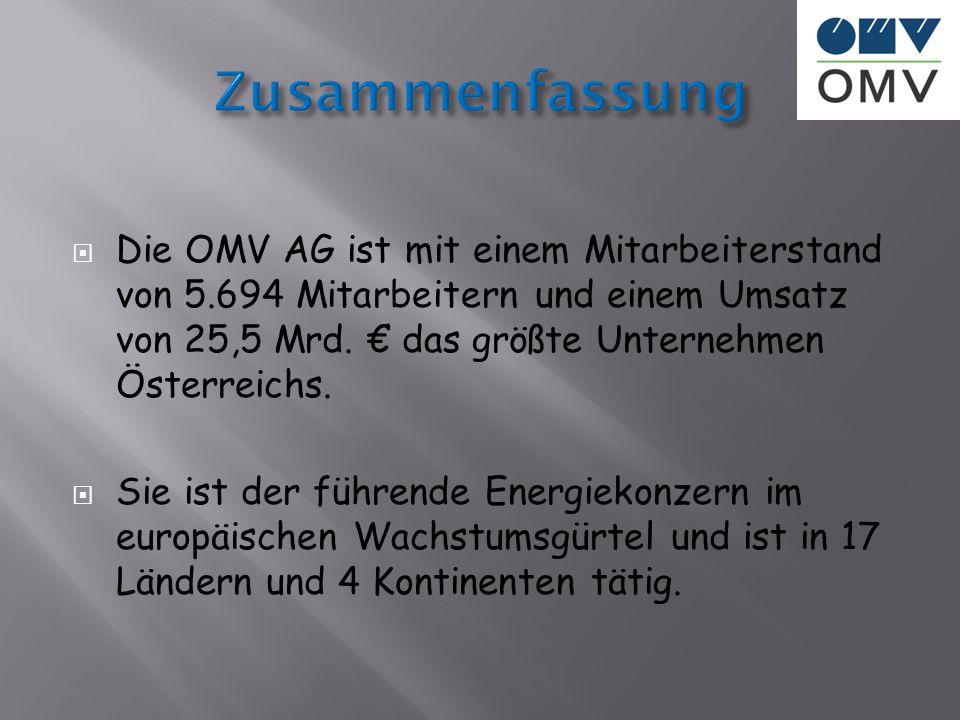Die OMV AG ist mit einem Mitarbeiterstand von 5.694 Mitarbeitern und einem Umsatz von 25,5 Mrd. das größte Unternehmen Österreichs. Sie ist der führen