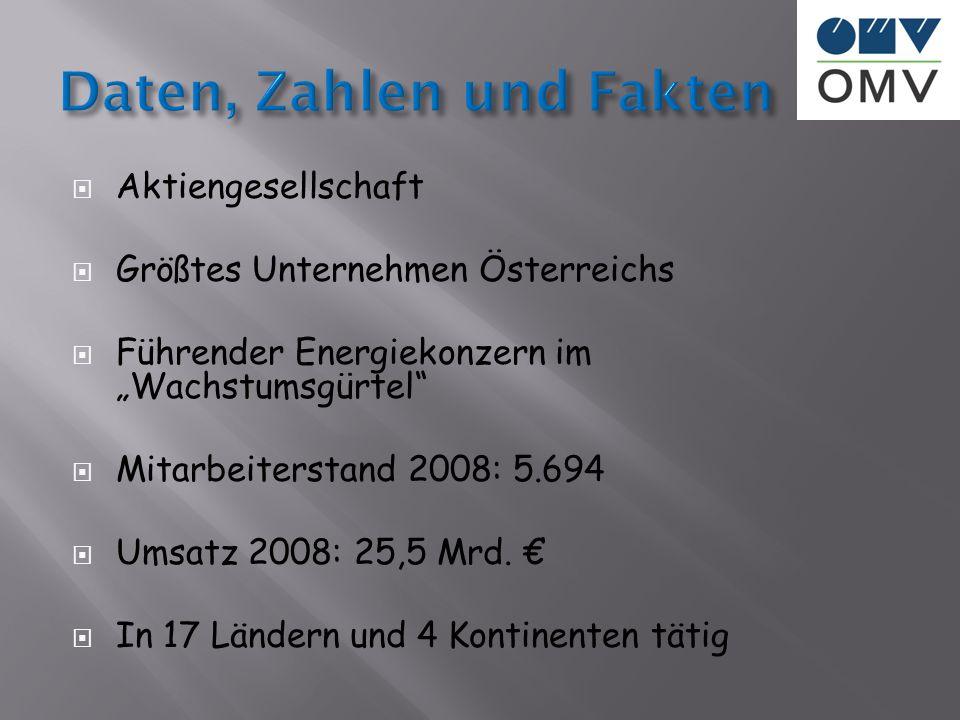 Aktiengesellschaft Größtes Unternehmen Österreichs Führender Energiekonzern im Wachstumsgürtel Mitarbeiterstand 2008: 5.694 Umsatz 2008: 25,5 Mrd. In