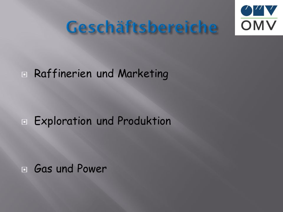Raffinerien und Marketing Exploration und Produktion Gas und Power