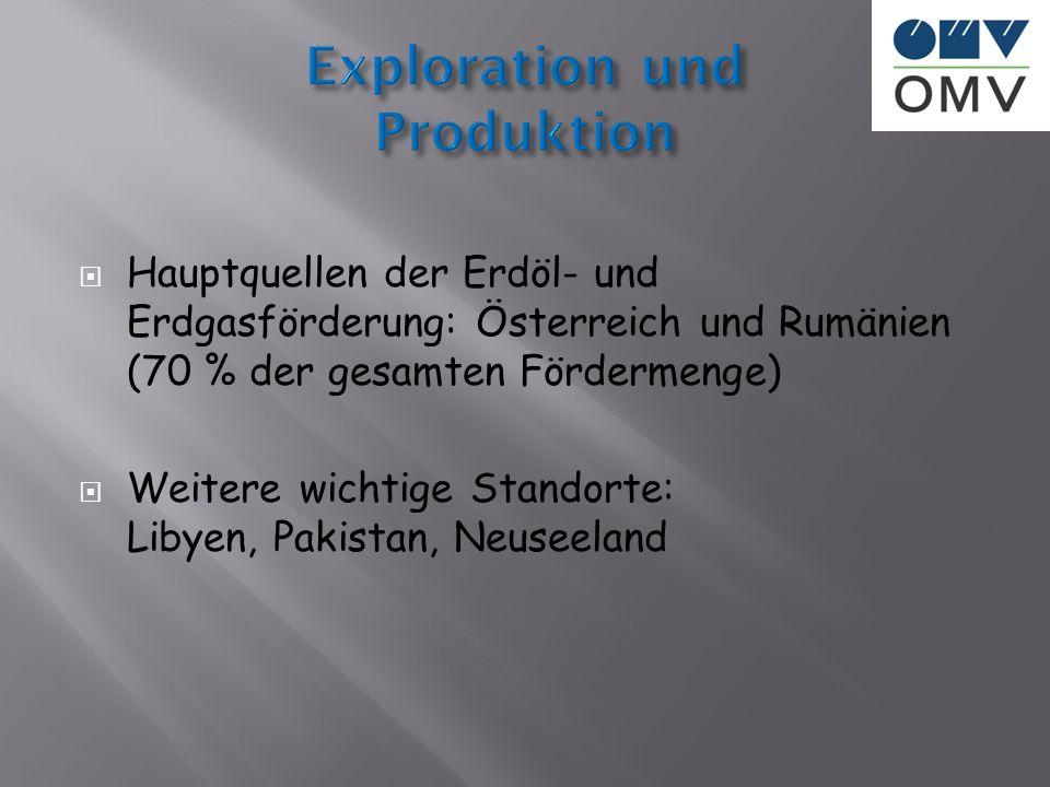 Hauptquellen der Erdöl- und Erdgasförderung: Österreich und Rumänien (70 % der gesamten Fördermenge) Weitere wichtige Standorte: Libyen, Pakistan, Neu