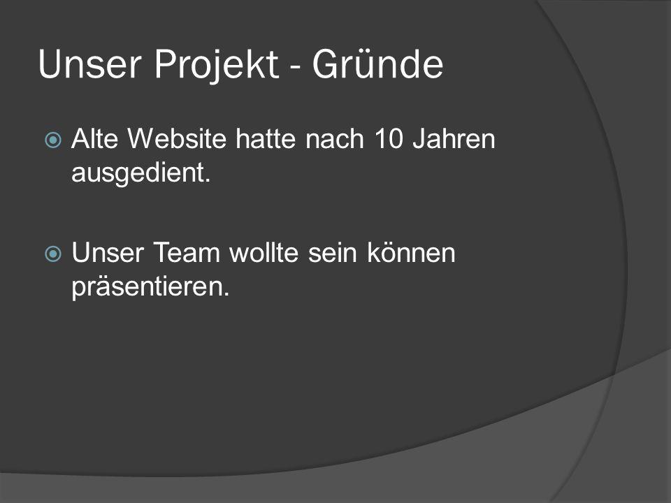 Unser Projekt - Gründe Alte Website hatte nach 10 Jahren ausgedient. Unser Team wollte sein können präsentieren.