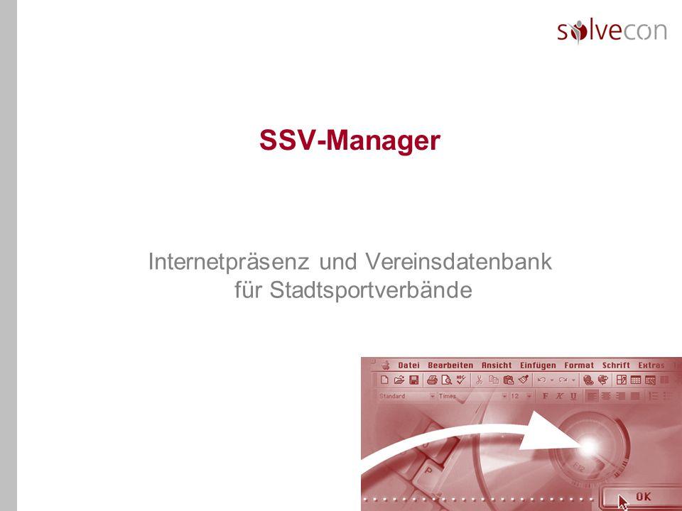 SSV-Manager Internetpräsenz und Vereinsdatenbank für Stadtsportverbände