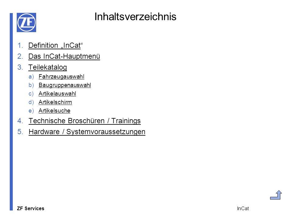 ZF Services InCat Inhaltsverzeichnis 1.Definition InCatDefinition InCat 2.Das InCat-HauptmenüDas InCat-Hauptmenü 3.TeilekatalogTeilekatalog a)Fahrzeug