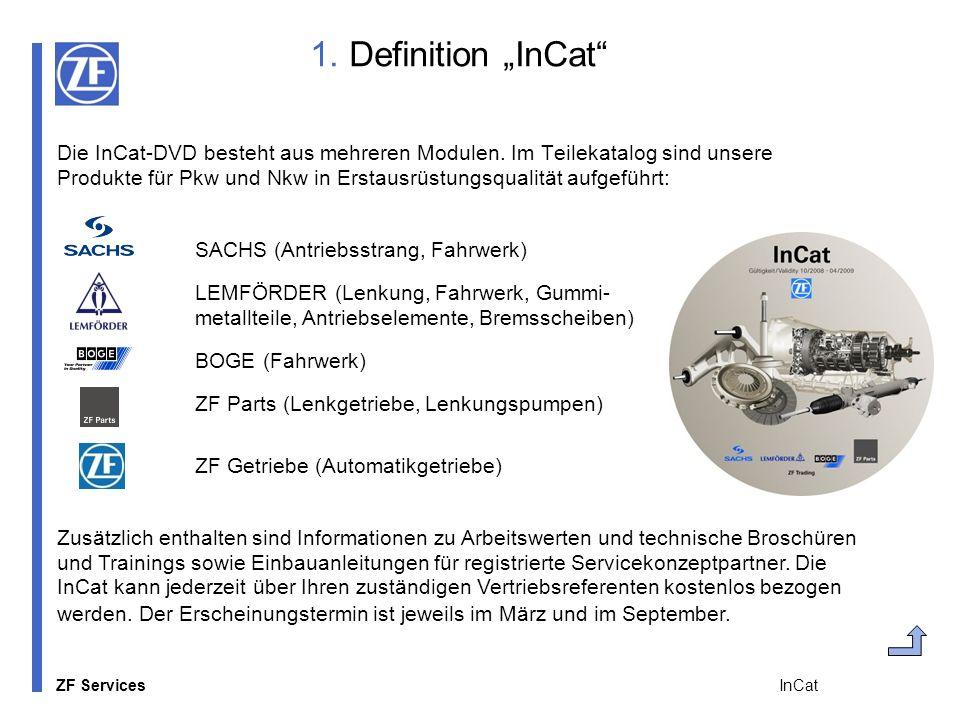ZF Services InCat 1. Definition InCat Die InCat-DVD besteht aus mehreren Modulen. Im Teilekatalog sind unsere Produkte für Pkw und Nkw in Erstausrüstu