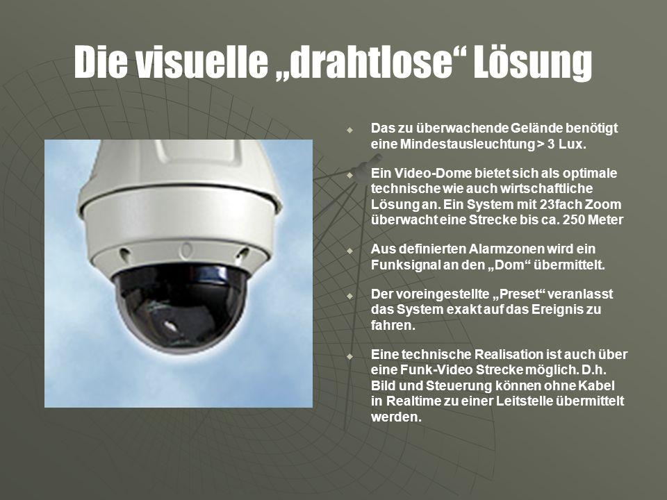 Die visuelle drahtlose Lösung Das zu überwachende Gelände benötigt eine Mindestausleuchtung > 3 Lux. Ein Video-Dome bietet sich als optimale technisch