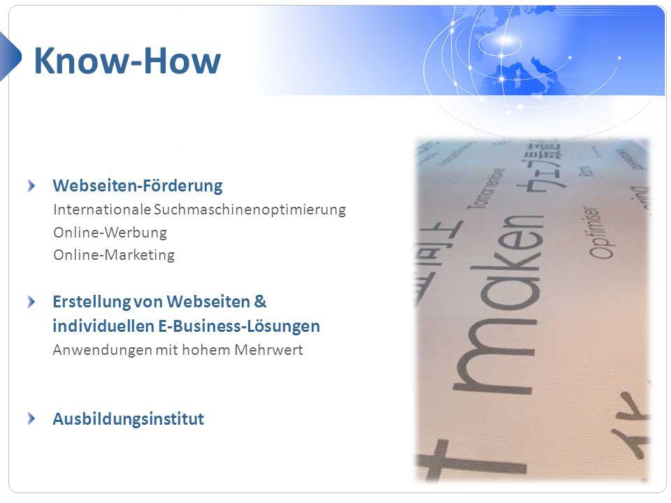 Webseiten-Förderung Internationale Suchmaschinenoptimierung Online-Werbung Online-Marketing Erstellung von Webseiten & individuellen E-Business-Lösung